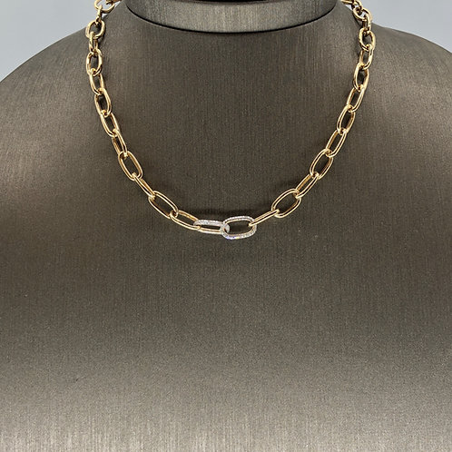 Double Diamond Link Gold Chain