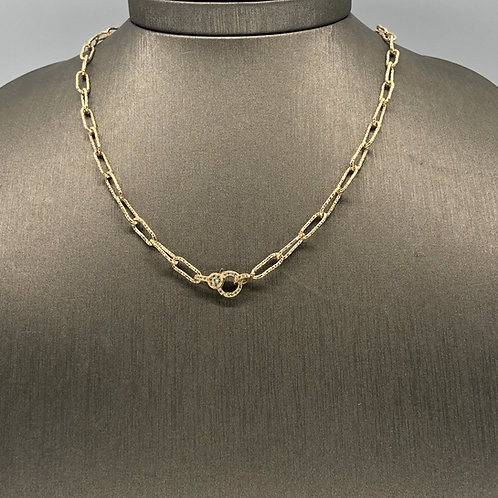 Pounded Gold and Diamond Clasp Chain