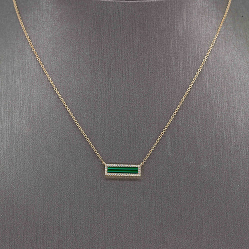 Malachite Diamond Bar Necklace