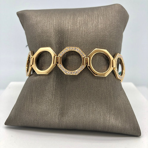 Octagon Diamond and Gold Bracelet
