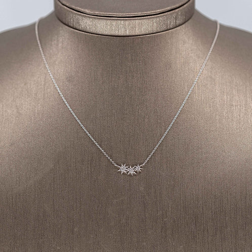 Triple Star Diamond Necklace in White Gold