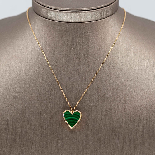 Malachite Heart Locket Necklace