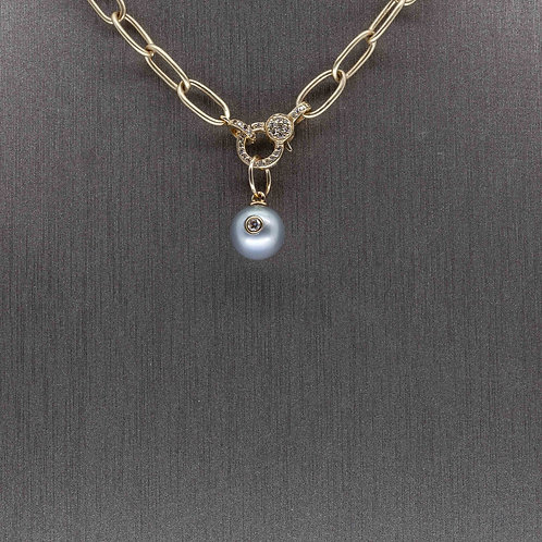 Grey Pearl and Diamond Charm