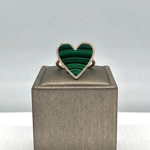 Malachite Diamond Heart Ring