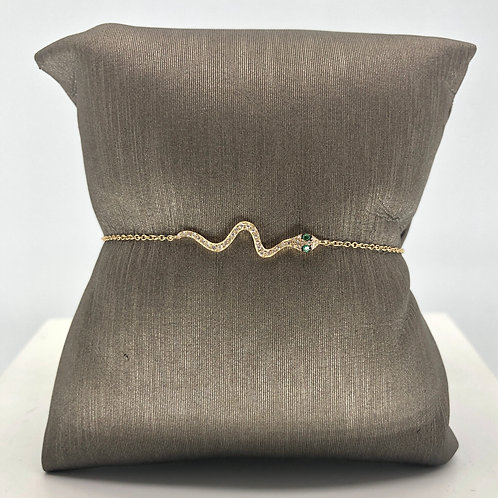 Snake Diamond and Emerald Bracelet