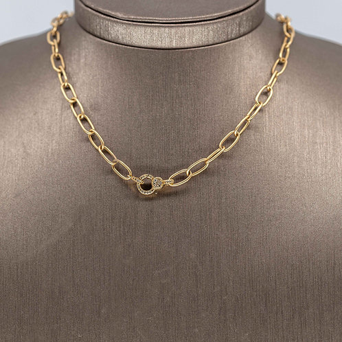 Gold Link Chain with Diamond Clasp