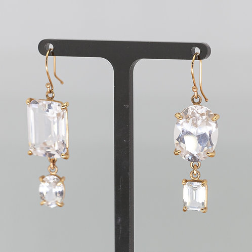White Topaz King and Queen Drop Earrings