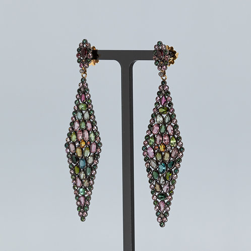 Tourmaline Diamond Shaped Dramatic Drop Earrings