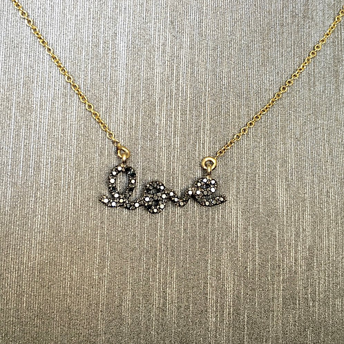 The Love Necklace with Black Diamonds