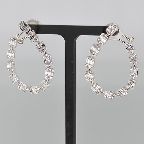 Baguette Around Diamond Earrings