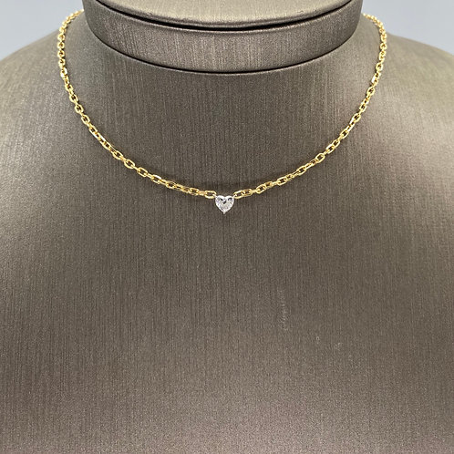 Diamond Heart on Gold Chain