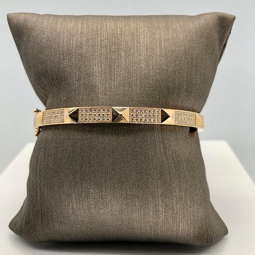 Gold stud and diamond Bangle