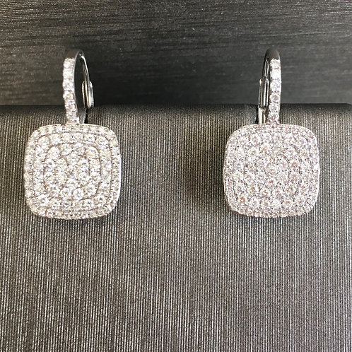 Large Diamond Pave Square Drops in White Gold