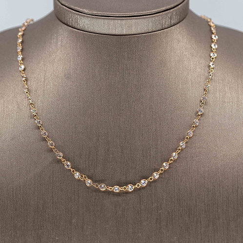 Gold long CZ  Layering Necklace