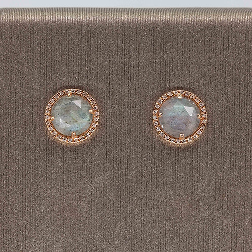 Labradorite and Diamond Circle Studs Rose Gold