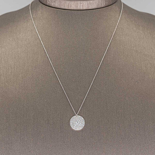 Pave Diamond Circle Necklace in White Gold