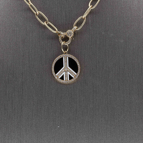 Black Enamel Peace Charm