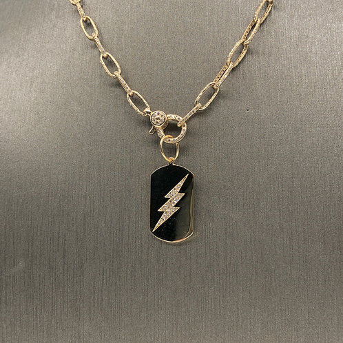 Diamond Lightening Bolt Dog Tag