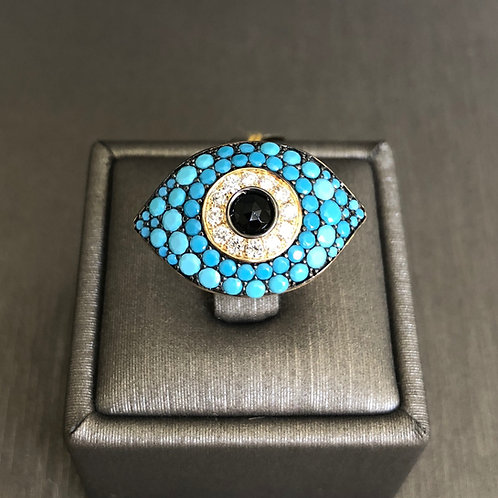 Turquoise and Diamond Evil Eye