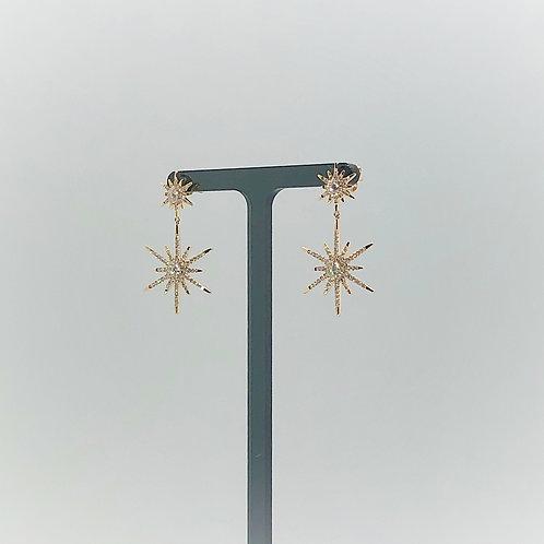 Double Diamond Starburst Earrings