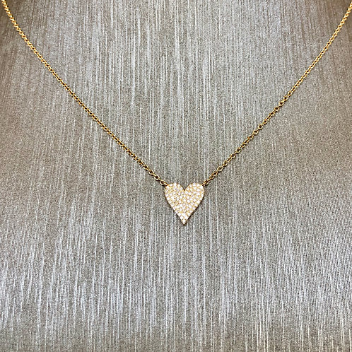 Small Pave Diamond Heart Necklace