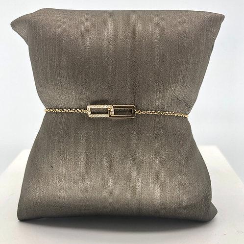 Rectangle Diamond Link Bracelet