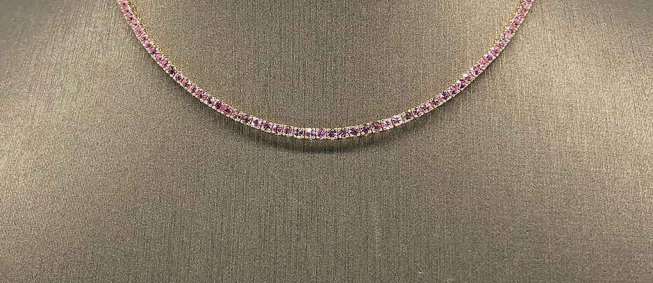 Pink SapphireTennis Necklace