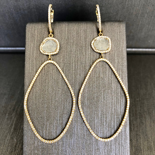 Diamond Slice Forward Hoops in Yellow Gold