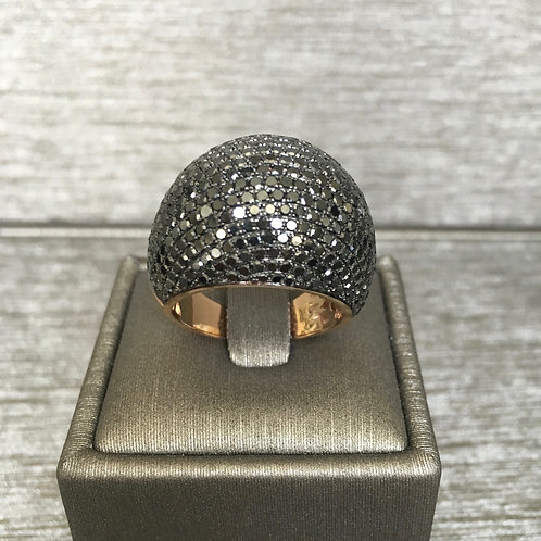 Black Diamond Domed Cocktail Ring