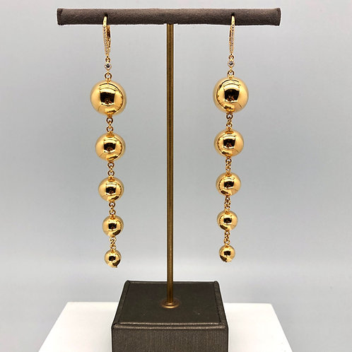 5 Ball Gold and Diamond Earrings