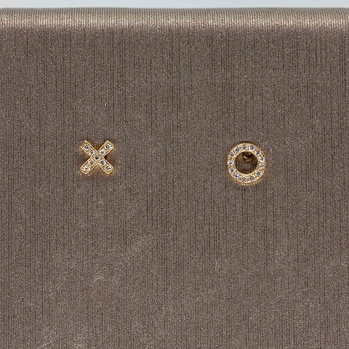 X and O Diamond Studs in Yellow Gold