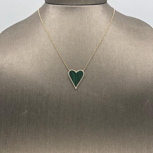 Malachite Diamond Heart Necklace