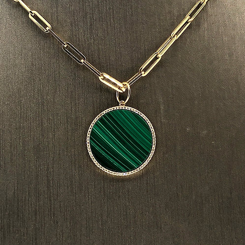 Diamond Malachite Circle Charm
