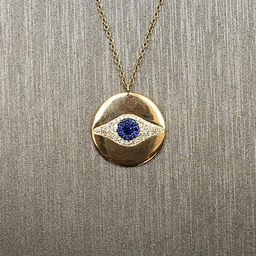 Shiny Gold Evil Eye Necklace