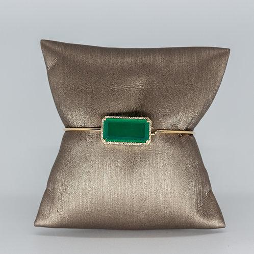 Emerald Shaped Green Agate & Diamond Bracelet