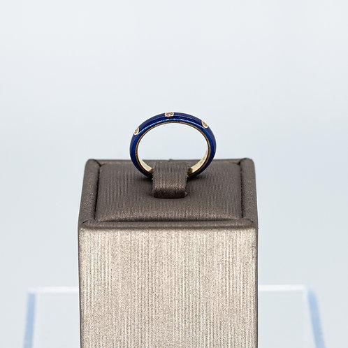 Navy Enamel Diamond Ring