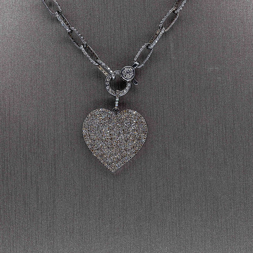 Oxidized Silver Diamond Heart Pendant