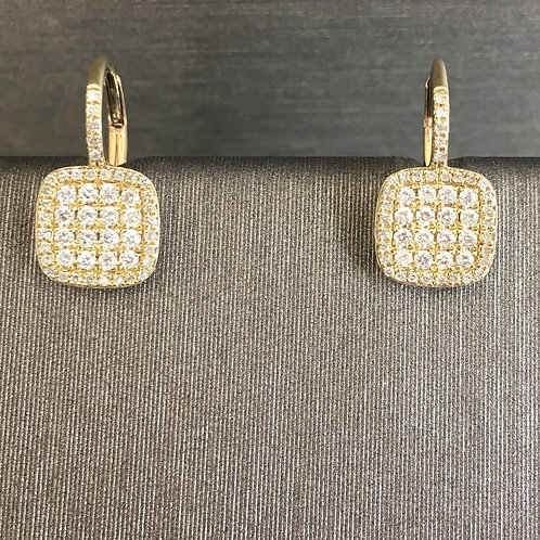 Small Diamond Pave Square Drops in Yellow Gold
