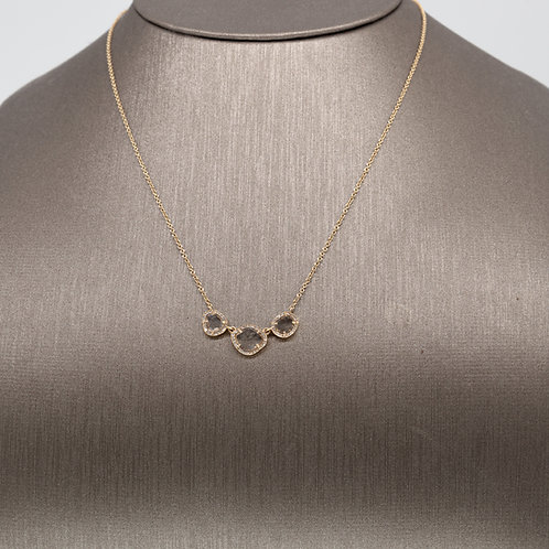 Triple Diamond Slice Necklace in Yellow Gold
