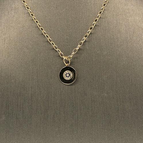 Sapphire and Diamond Circle Charm