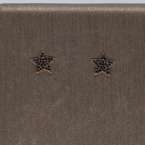 Small Black Diamond Star Studs