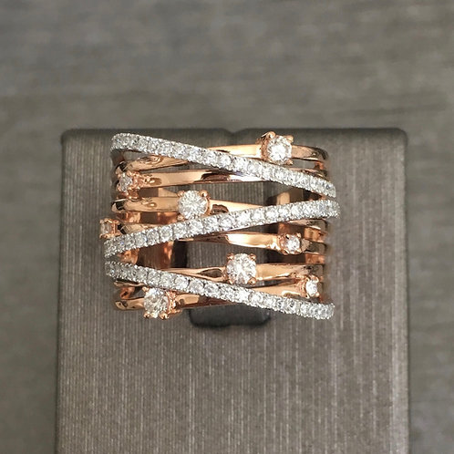 Multi Band Diamond and Pave Ring