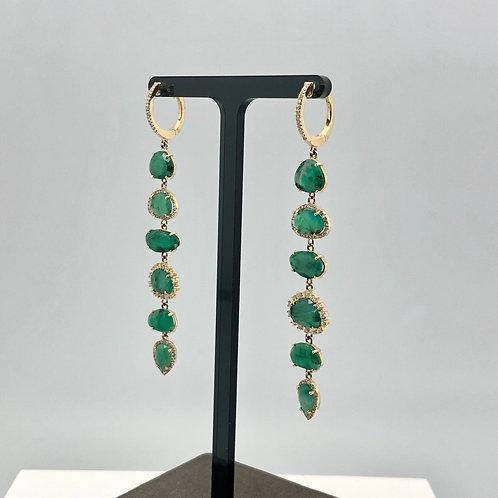 Stunning Organic Emerald and Diamond Drop Earrings