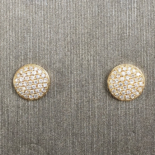 Domed Pave Diamond Studs in Yellow Gold