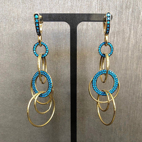 Turquoise Circle Gold Drops