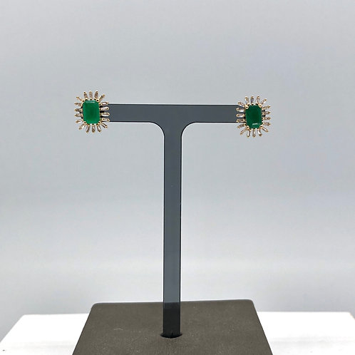 Emerald and Diamond Baguette Studs