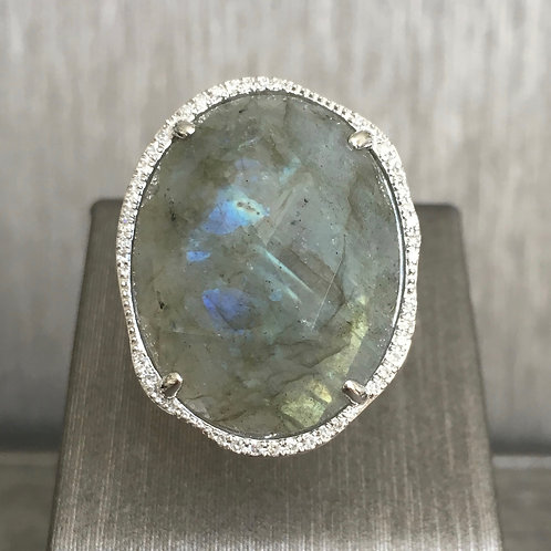 Labradorite and Diamond Ring