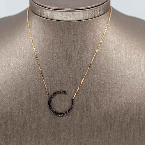 Black Diamond Flat Crescent Necklace