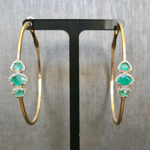 Triple Emerald Gold Hoops