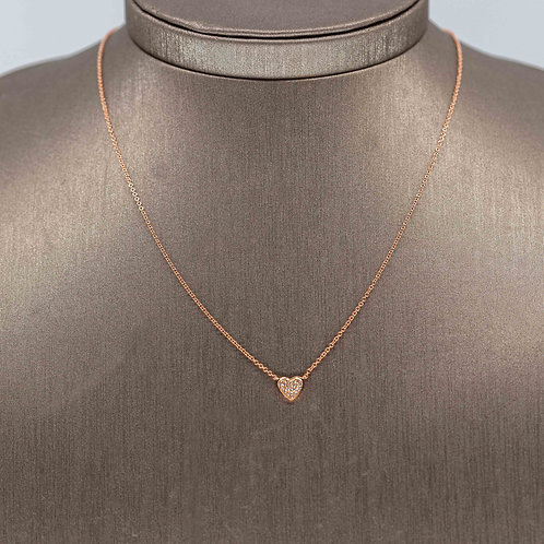 Small Diamond Heart Necklace in Rose Gold